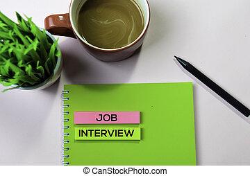 概念, オフィス, テキスト, メモ, 付せん, 仕事, 机, インタビュー