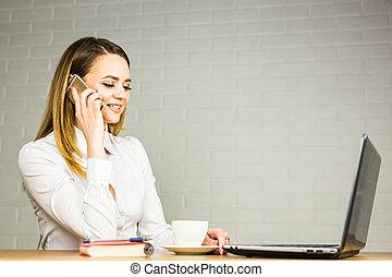 概念, オフィス, ビジネス, 話し, 女性実業家, -, 電話