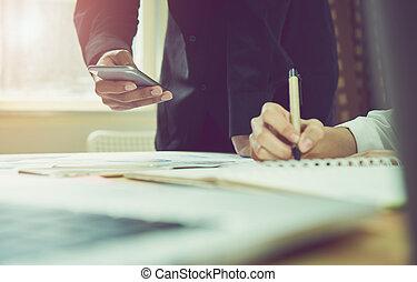 概念, オフィス, 仕事, technology., 木製である, 型, 現代, light., 朝, effect., 女性, 机の仕事, 進んだ, 人
