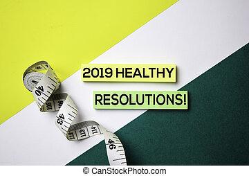 概念, オフィス, 健康, テキスト, メモ, 付せん, 2019, 机, resolutions!