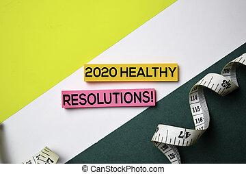 概念, オフィス, 健康, テキスト, メモ, 付せん, resolution!, 2020, 机