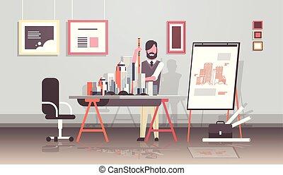 概念, オフィス, 家, 現代, エンジニア, 都市, 仕事, 保有物, パンする, 新しい, 青写真, 都市, フルである, 内部, スタジオ, 横, 人, 建物, レベル, プロジェクト, 長さ, 建築家, モデル