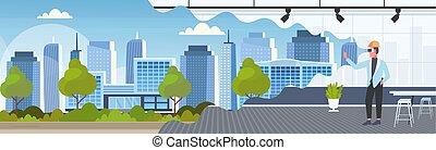 概念, オフィス, 現代, vr, ヘルメット, バーチャルリアリティ, デジタル, 内部, 都市, 3d, 身に着けていること, 平ら, フルである, ヘッドホン, モデリング, 横, 人, 建物, 長さ, 建築家, モデル, ビジョン, ガラス