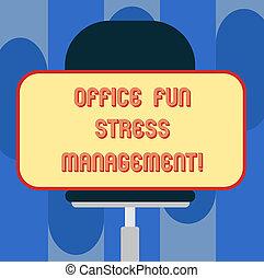 概念, オフィス, 瞬間, テキスト, ステッカー, 形, ブランク, management., 水平に, リラックスしなさい, chair., 旋回装置, 弛緩, モデル, レジャー, 意味, ストレス, 仕事, 長方形, 時間, 楽しみ, 手書き
