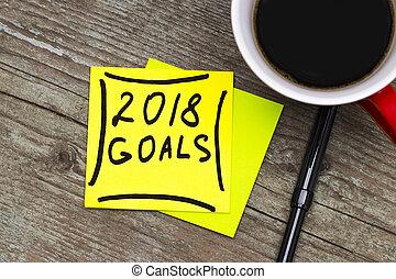 概念, カップ, 年, コーヒー, -, 付せん, 黒, 2018, インク, 新しい, 手書き, resolutions, ゴール