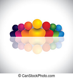 &, 概念, カラフルである, アイコン, 人々, リーダーシップ, リーダー