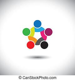 概念, カラフルである, 人々, 抽象的, 統一, ベクトル, 団結