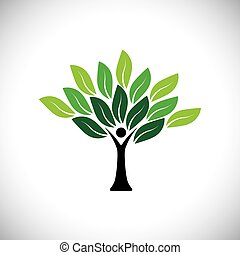 概念, カラフルである, 人々, eco, 木, 葉, -, ベクトル, アイコン