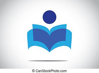 概念, カラフルである, 勉強, 小説, シンボル。, イラスト, ∥あるいは∥, 人, 文学, 人間, 読書, 本を 開けなさい, 人