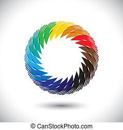概念, カラフルである, graphic-, 抽象的, 手, シンボル, ベクトル, 人々