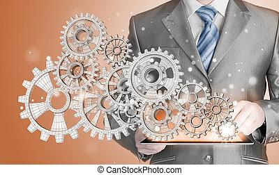 概念, ギヤ, 成功, 手, 感触, ビジネスマン
