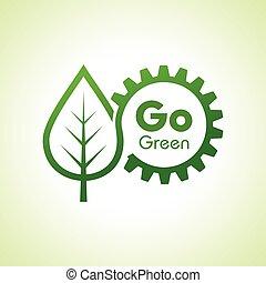 概念, ギヤ, 自然, eco, 緑, 行きなさい, を除けば