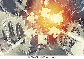 概念, ギヤ, overlay., ダブル, 困惑, 始動, 統合, 小片, チームワーク, 効果, さらされること, partners., ネットワーク