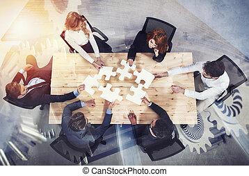 概念, ギヤ, overlay., ダブル, 困惑, 始動, 統合, 小片, チームワーク, partners., さらされること