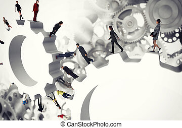 概念, ギヤ, system., レンダリング, チームワーク, 3d