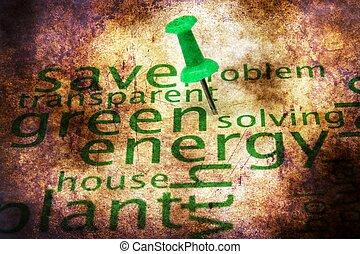 概念, グランジ, エネルギー, 緑, 単語, 雲