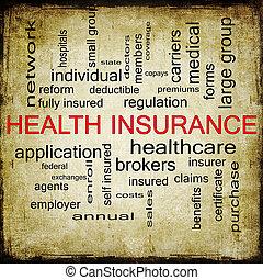 概念, グランジ, 健康, 単語, 保険, 雲