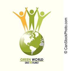 概念, グループ, のまわり, 人々, 地球, 惑星, 緑, を除けば