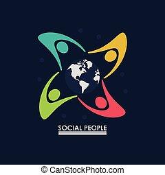 概念, グループ, のまわり, 人々, 地球, 社会, 地球