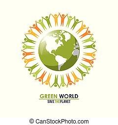 概念, グループ, のまわり, 人々, 惑星, 緑, 世界