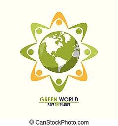 概念, グループ, のまわり, 人々, 抽象的, 惑星, 緑, 世界