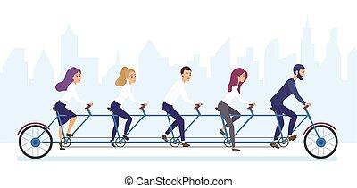 概念, グループ, オフィス, ビジネス 人々, タンデム, チームワーク, 一緒に。, 乗馬の自転車, brvyot, illustration.