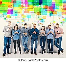 概念, グループ, ネットワーク, 男の子, インターネット, 女の子, ∥(彼・それ)ら∥, 接続される, 社会, smartphones.