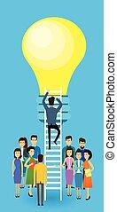 概念, グループ, ビジネス 人々, ライト, はしご, の上, 考え, ビジネスマン, アジア人, 電球, 新しい, 上昇, 階段