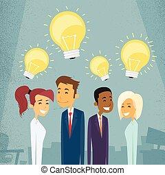 概念, グループ, ビジネス 人々, ライト, 考え, 電球