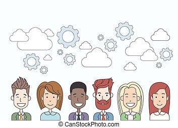 概念, グループ, ビジネス 人々, 多様, チームワーク, 資源, 人間, 雲