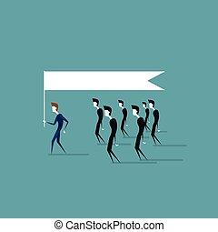 概念, グループ, ビジネス 人々, 考え, 旗, リーダーシップ, 保有物, 続きなさい, リーダー