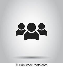 概念, グループ, ビジネス 人々, 隔離された, イラスト, 人, ベクトル, バックグラウンド。, icon., pictogram.