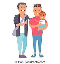 概念, グループ, illustration., 家族, 人々, 親, 特徴, 朗らかである, 子育て, ベクトル, ...