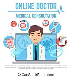 概念, コンピュータ, サービス, 医者, 医学, インターネット, ベクトル, 健康, オンラインで, 相談