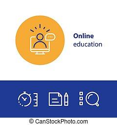 概念, コース, 勉強, インターネットアイコン, 遠い, 勉強, オンラインで, 線, 教育