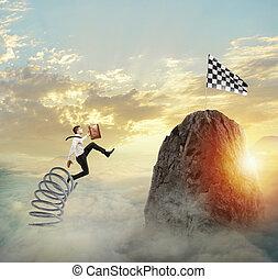 概念, ゴール, ビジネス キャリア, 春, リーチ, 跳躍, flag., ビジネスマン, 達成, 困難