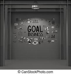 概念, ゴール, ビジネス, 手ざわり, 作戦, 暗い背景, 引かれる, 手
