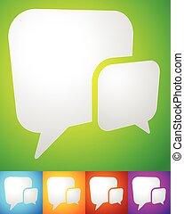 概念, サポート, コミュニケーション, 重なり合う, 2, squarish, 泡, スピーチ, 話, チャット