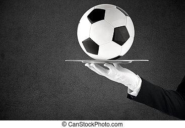 概念, サービス, ウエーター, 手掛かり, サッカー, トレー, クラス, ball., 最初に