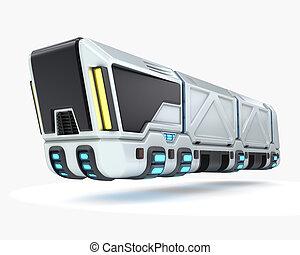 概念, システム, イラスト, 未来, トラック輸送, 3d