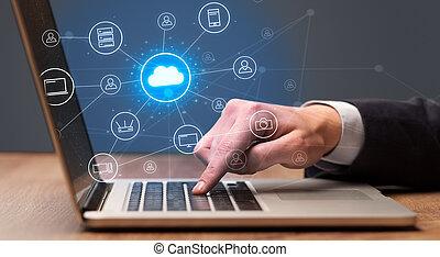 概念, システム, 手, タイプ, 技術, 雲