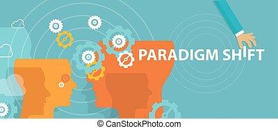 概念, シフトしなさい, rethink, 考え, 認識, 変化する, 新しい, paradigm