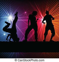 概念, シルエット, ダンス, ベクトル, 背景, 女の子