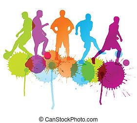 概念, シルエット, ポスター, フットボール選手, ベクトル, はねる, 背景, インク, サッカー