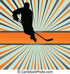 概念, シルエット, ポスター, 抽象的, 氷, プレーヤー, ベクトル, ホッケー, 背景, スポーツ