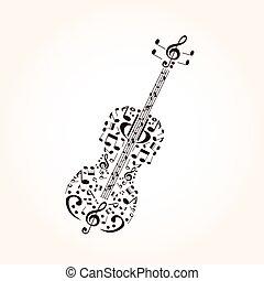 概念, シンボル, 作られた, コントラバス, 音楽, ミュージカル
