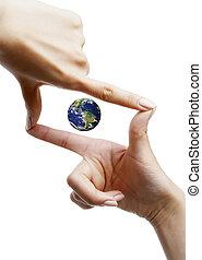概念, シンボル, 作られた, 安全, 手