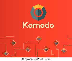 概念, シンボル, komodo, blockchain, 背景, デジタル