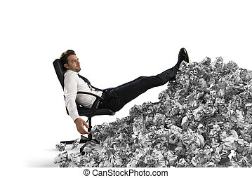 概念, シート, 働き過ぎ, ペーパー, 埋められる, anywhere., ビジネスマン, bureaucracy.