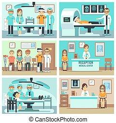 概念, スタッフ, 人々, 病院, 相談, ベクトル, オフィス, 医学, 患者, 検査, 処置, 平ら